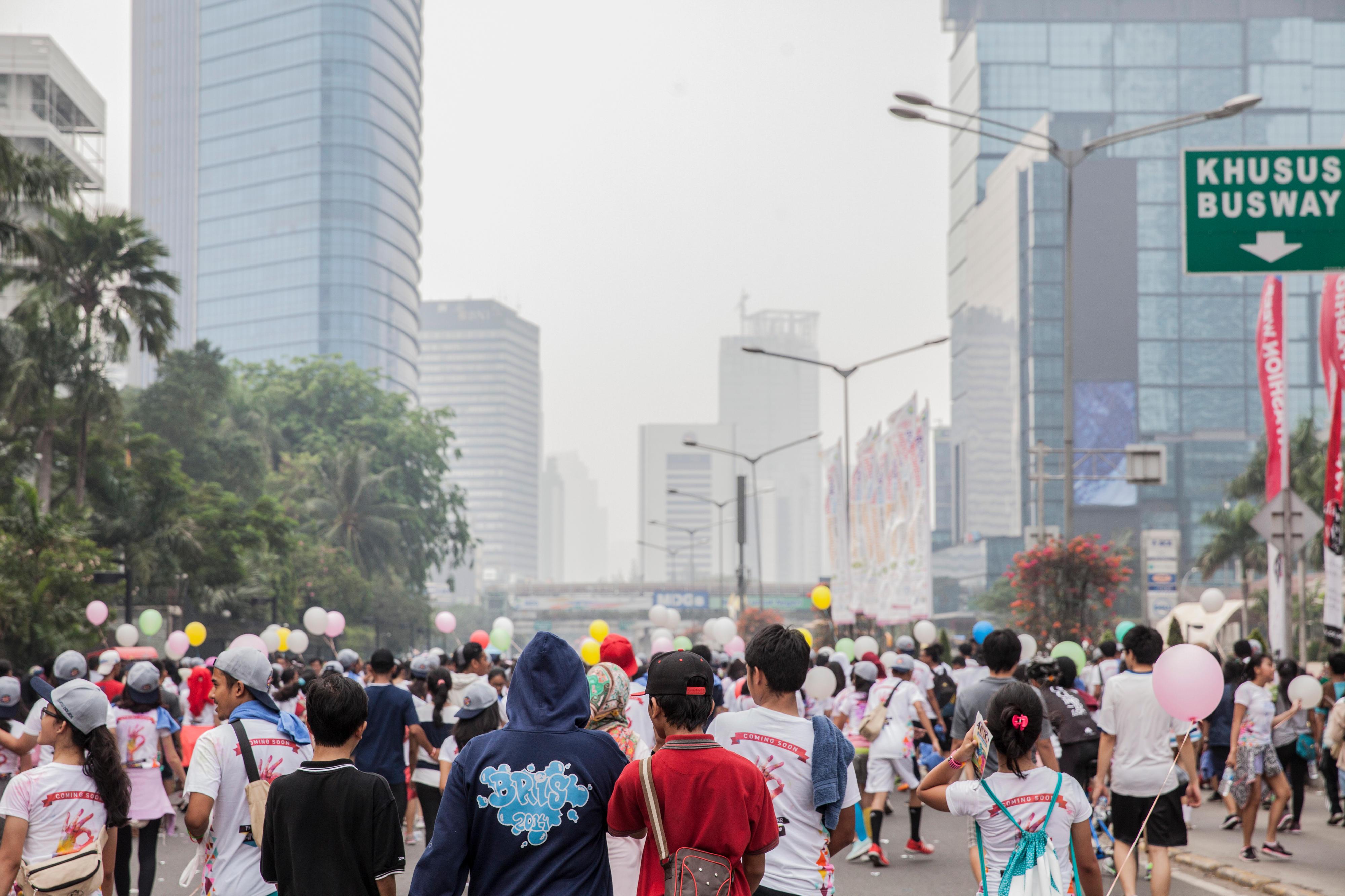 Menschenmenge in der Innenstadt von Jakarta,Indonesien, an einem autofreien Sonntag