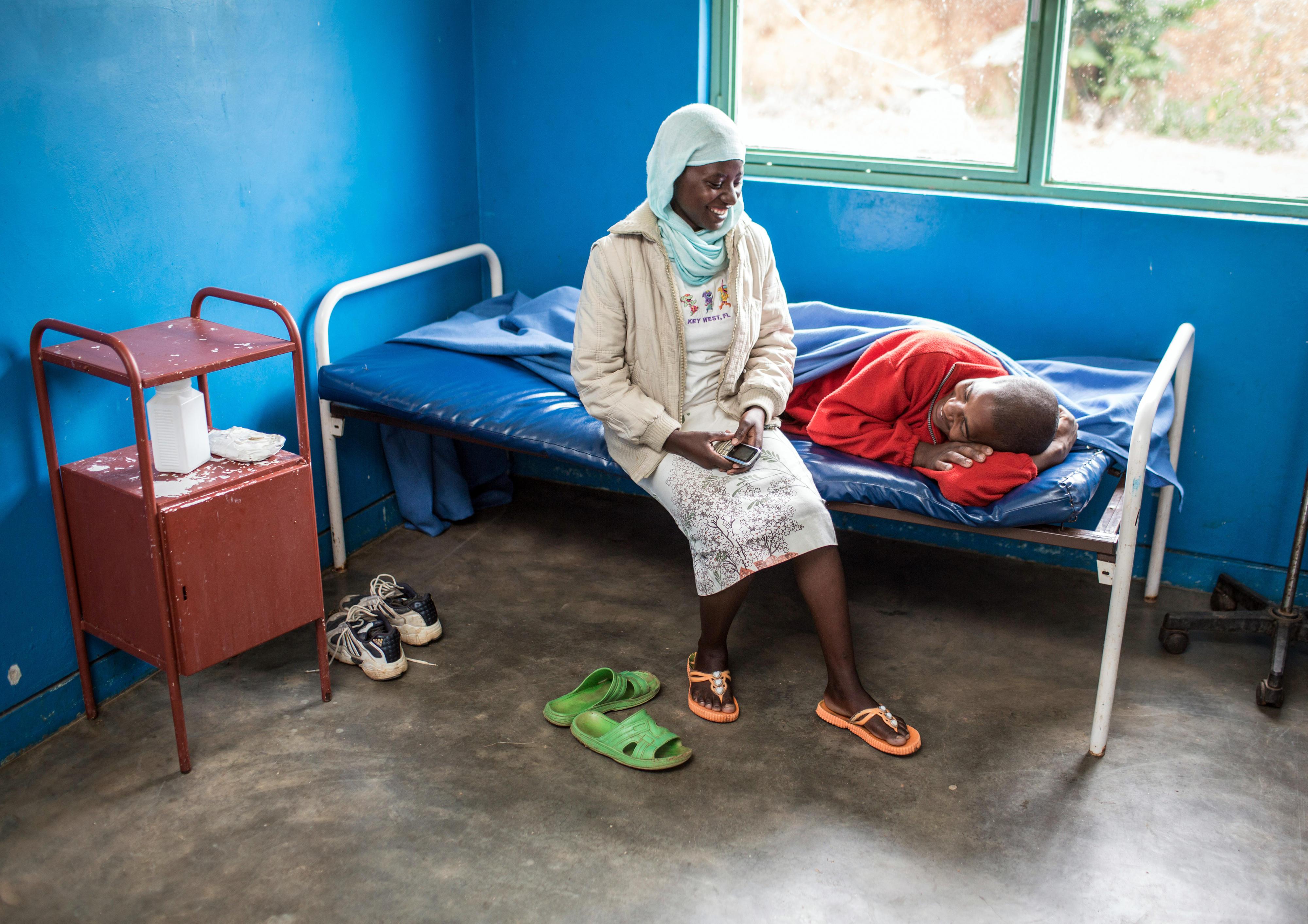 Ein Patientenzimmer im Gesundheitszentrum in Rubona, Ruanda