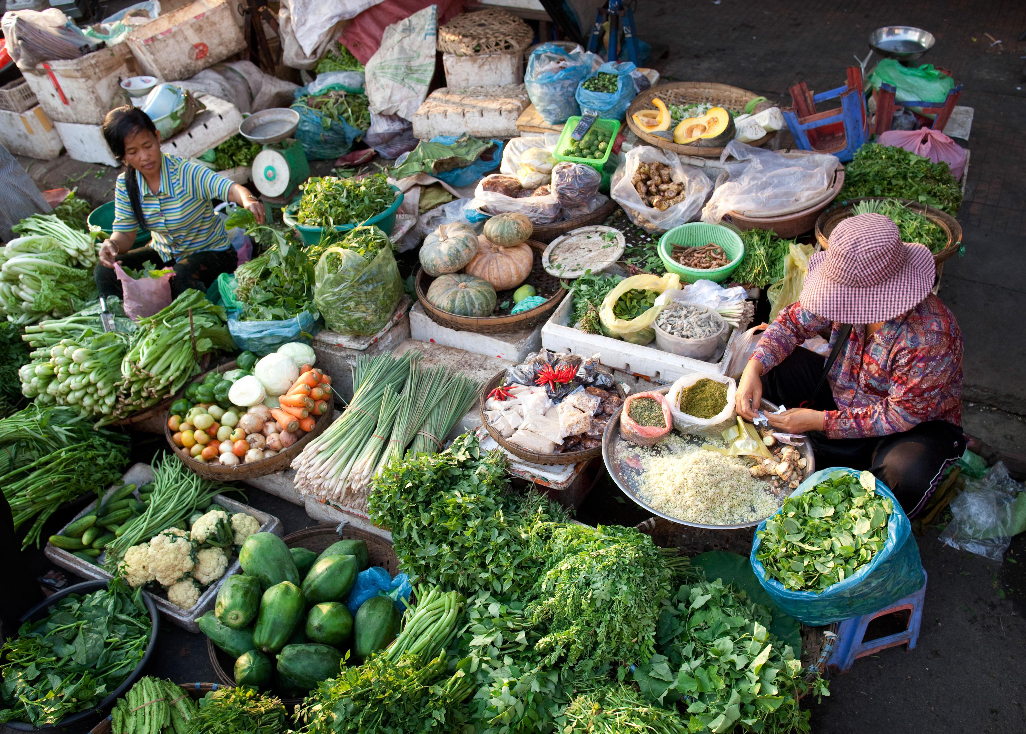 Gemüse auf dem Kandal-Markt in Phnom Penh, Kambodscha