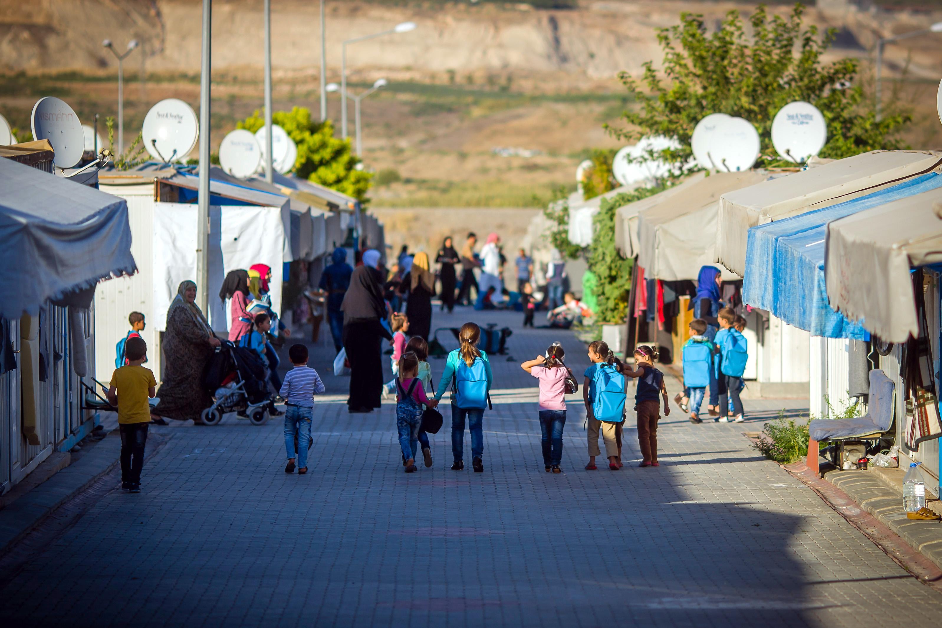 Syrische Flüchtlinge in einem Camp in Nizip, Türkei