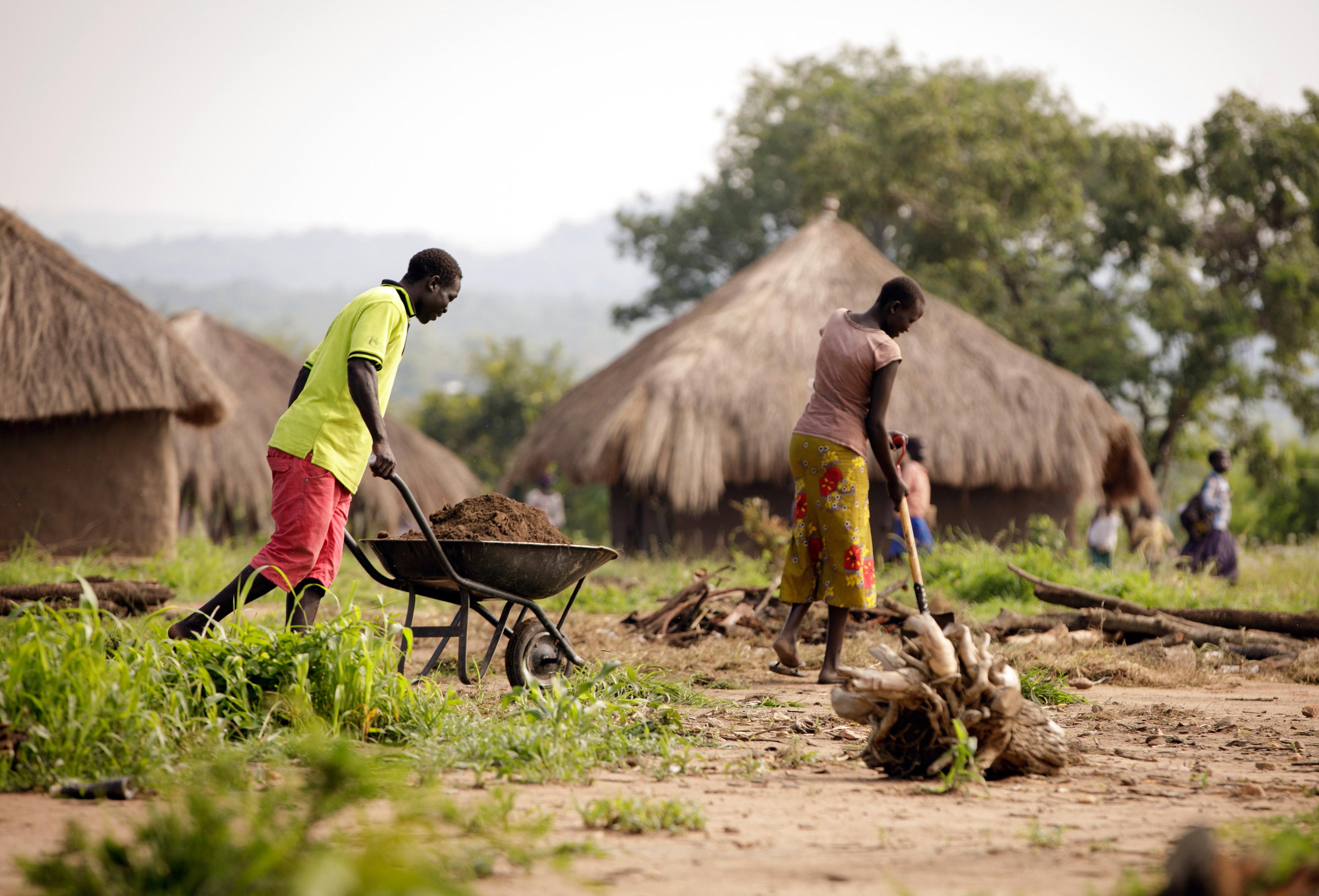 Zwei Geflüchtete bewirtschaften einen Acker im Rhino Refugee Camp im Norden Ugandas, wo rund 90.000 Menschen leben, die aus dem Südsudan geflohen sind.