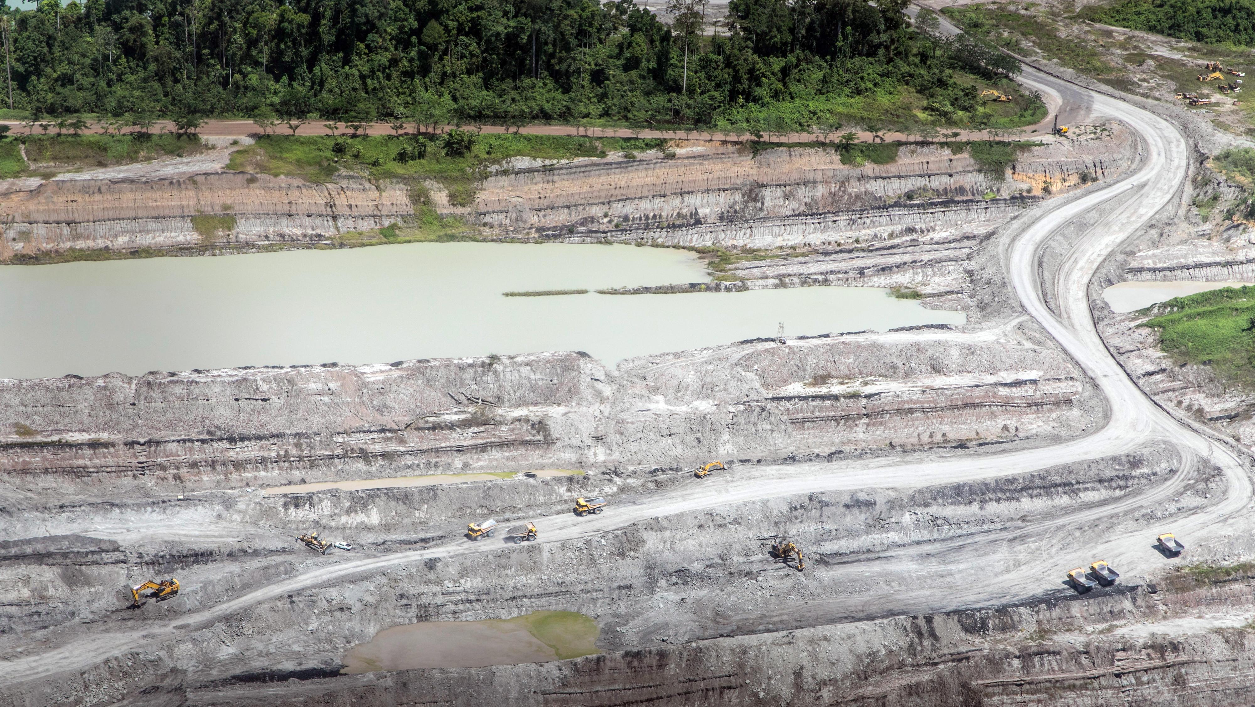 Abgeholzte Flächen im tropischen Regenwald auf Borneo in Indonesien