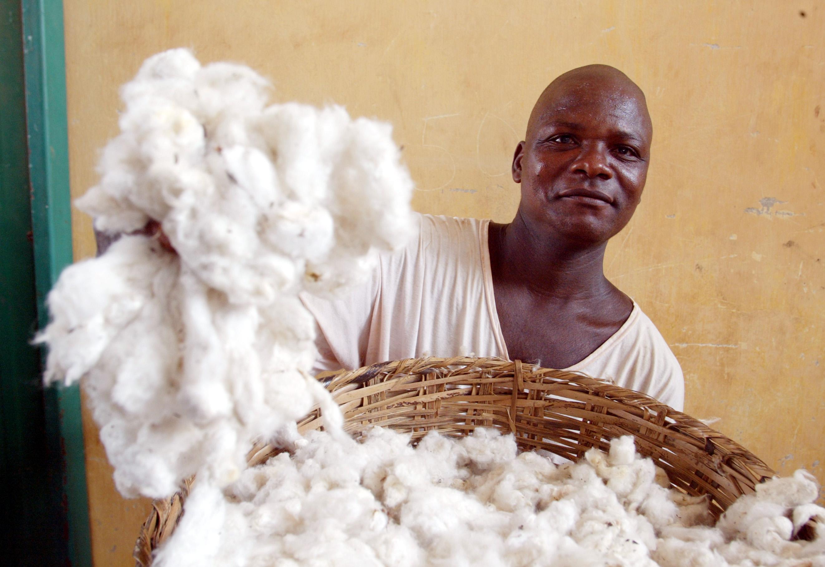 Ein Mitarbeiter einer Baumwoll-Entkörnungsfabrik in Benin