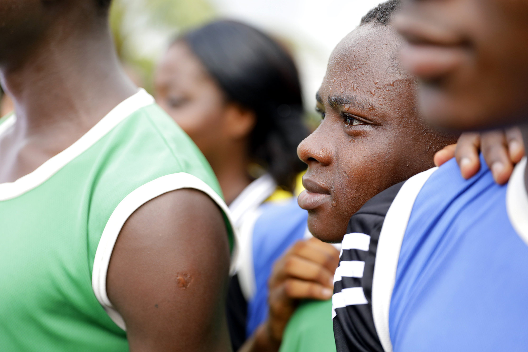 Junge Fußballer des Vereins ASEC Mimosas in Abidjan, Côte d'Ivoire