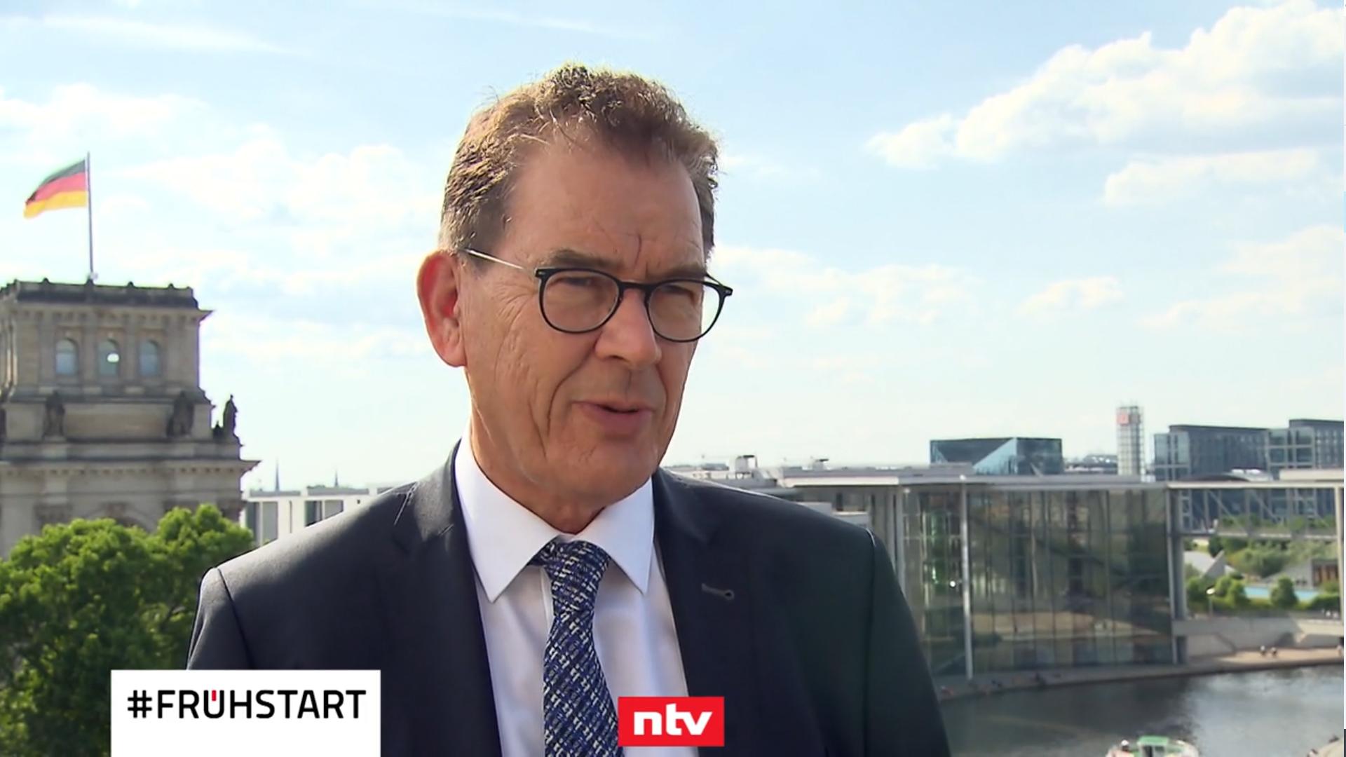 Standbild aus dem Interview von Minister Gerd Müller mit dem Fernsehsender n-tv am 18.06.2020