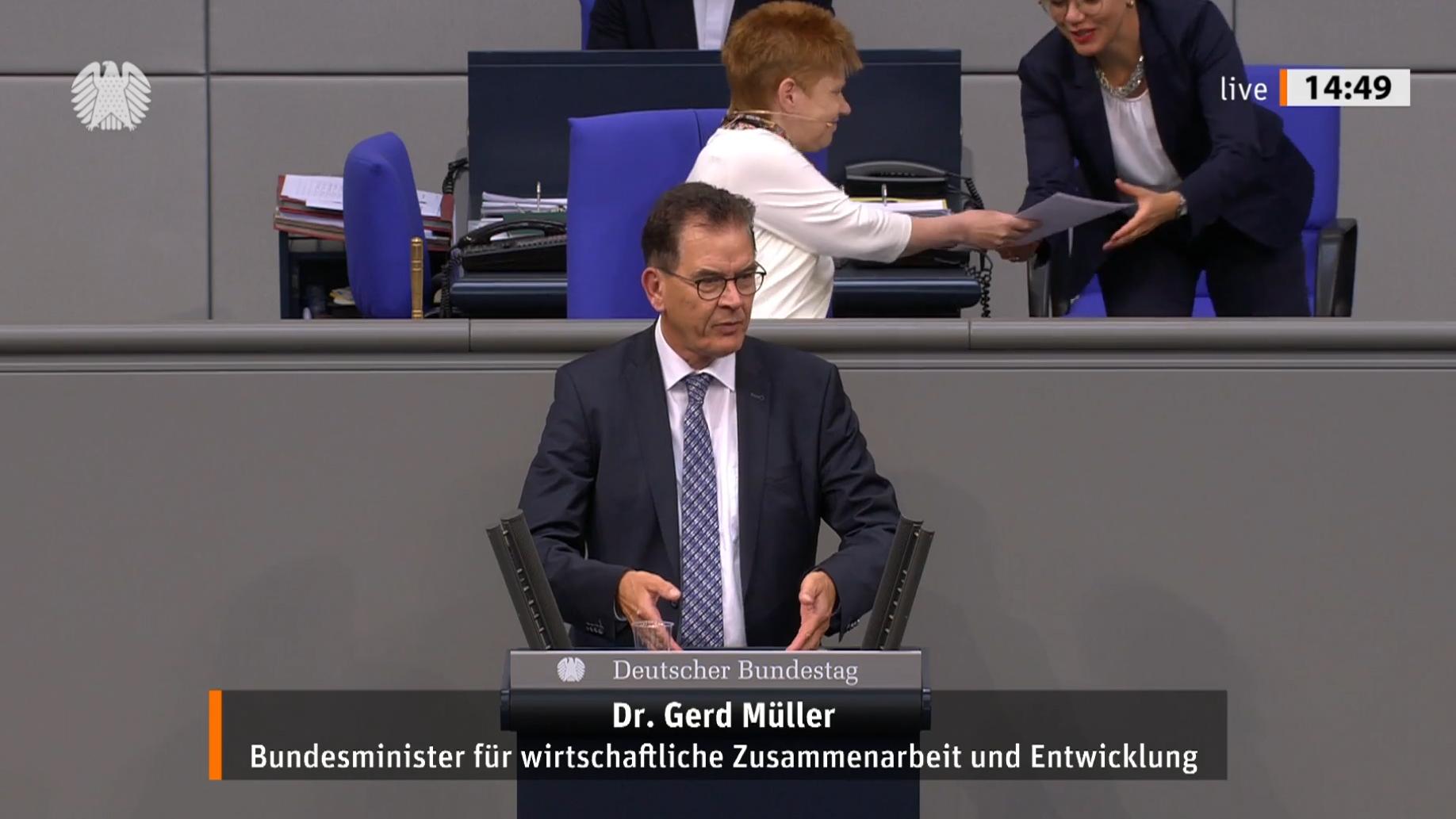 Standbild aus dem Video der Rede von Minister Müller vor dem Deutschen Bundestag am 19. Juni 2020