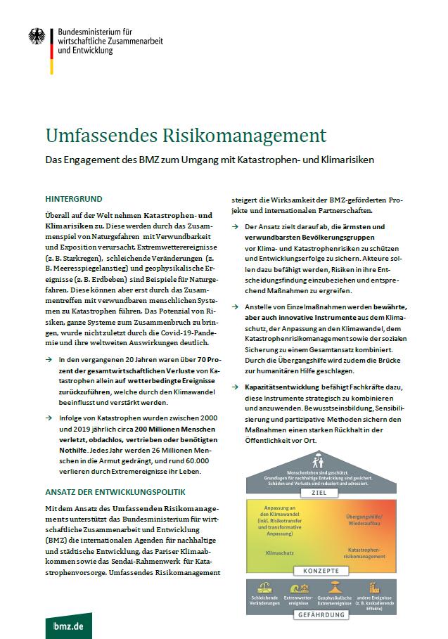 Titelblatt: BMZ-Factsheet: Umfassendes Risikomanagement |Das Engagement des BMZ zum Umgang mit Katastrophen- und Klimarisiken