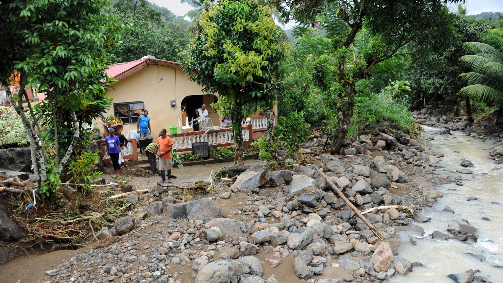 Storm damage on the Caribbean island of St. Lucia