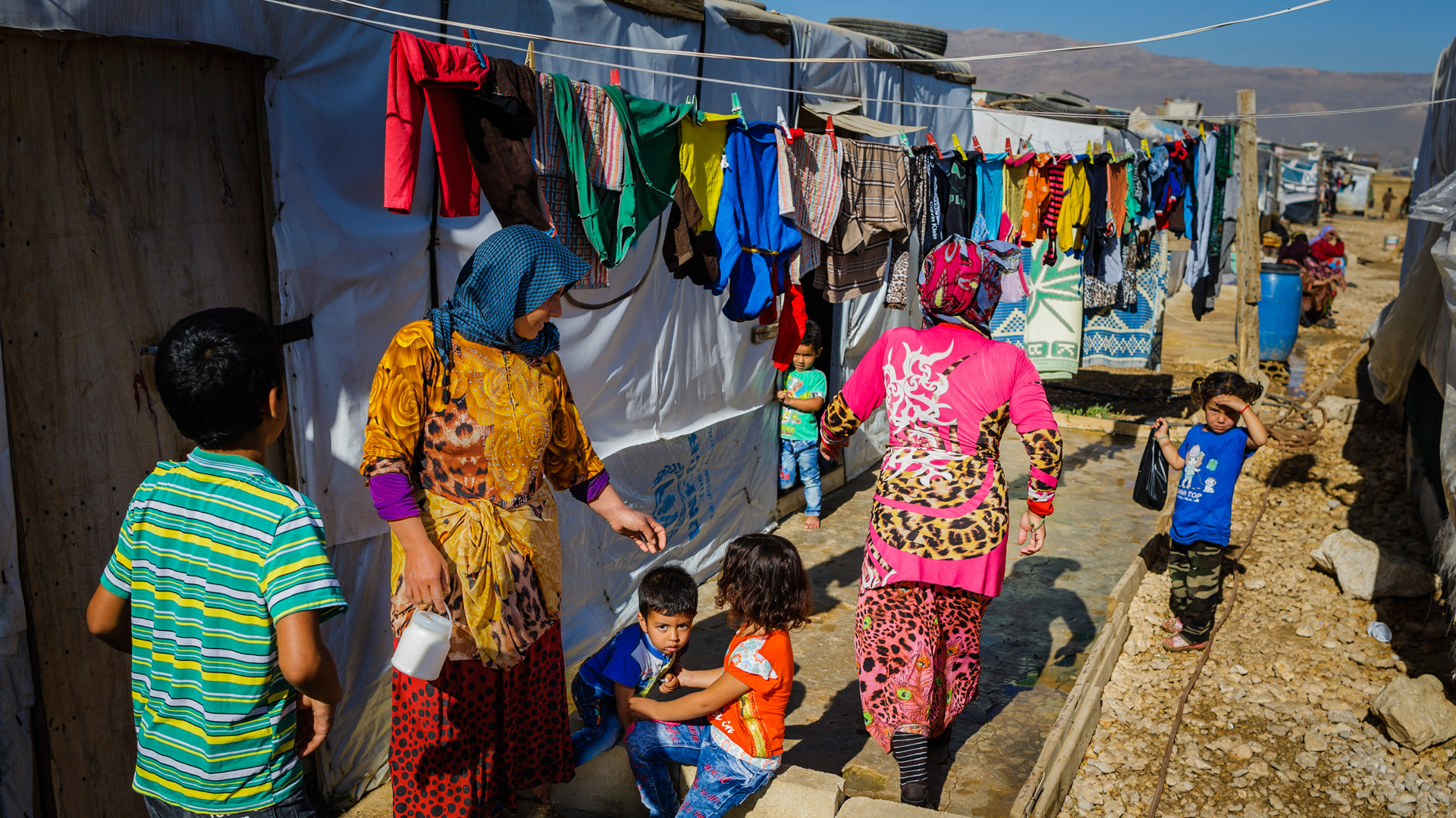 Syrian women and children in a refugee camp in Bar Elias in the Bekaa plain, Lebanon