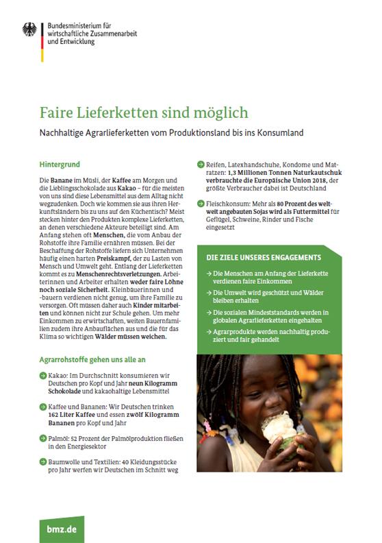 """Titelblatt: Factsheet """"Faire Lieferketten sind möglich"""""""