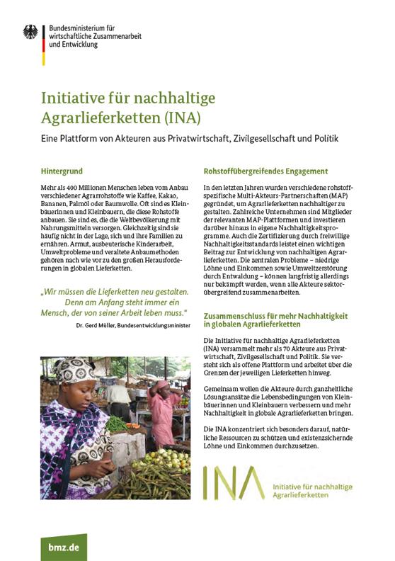 """Titelblatt: Factsheet """"Initiative für nachhaltige Agrarlieferketten (INA)"""""""