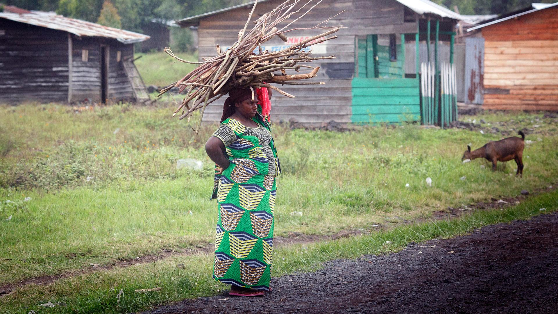 Eine Frau trägt Feuerholz in Kibati Goma, DR Kongo