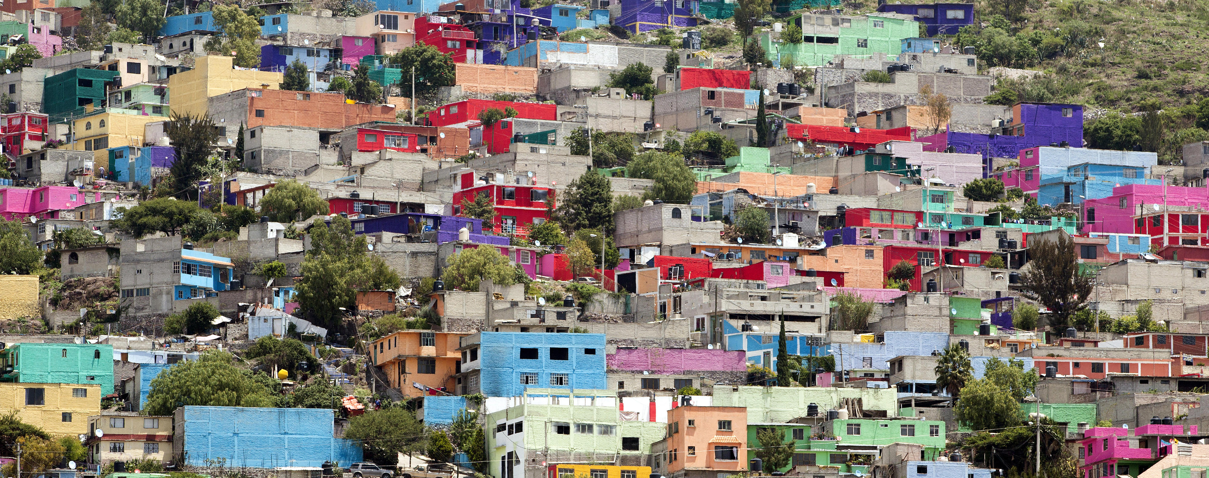 Colorful houses in a suburb of Mexico City