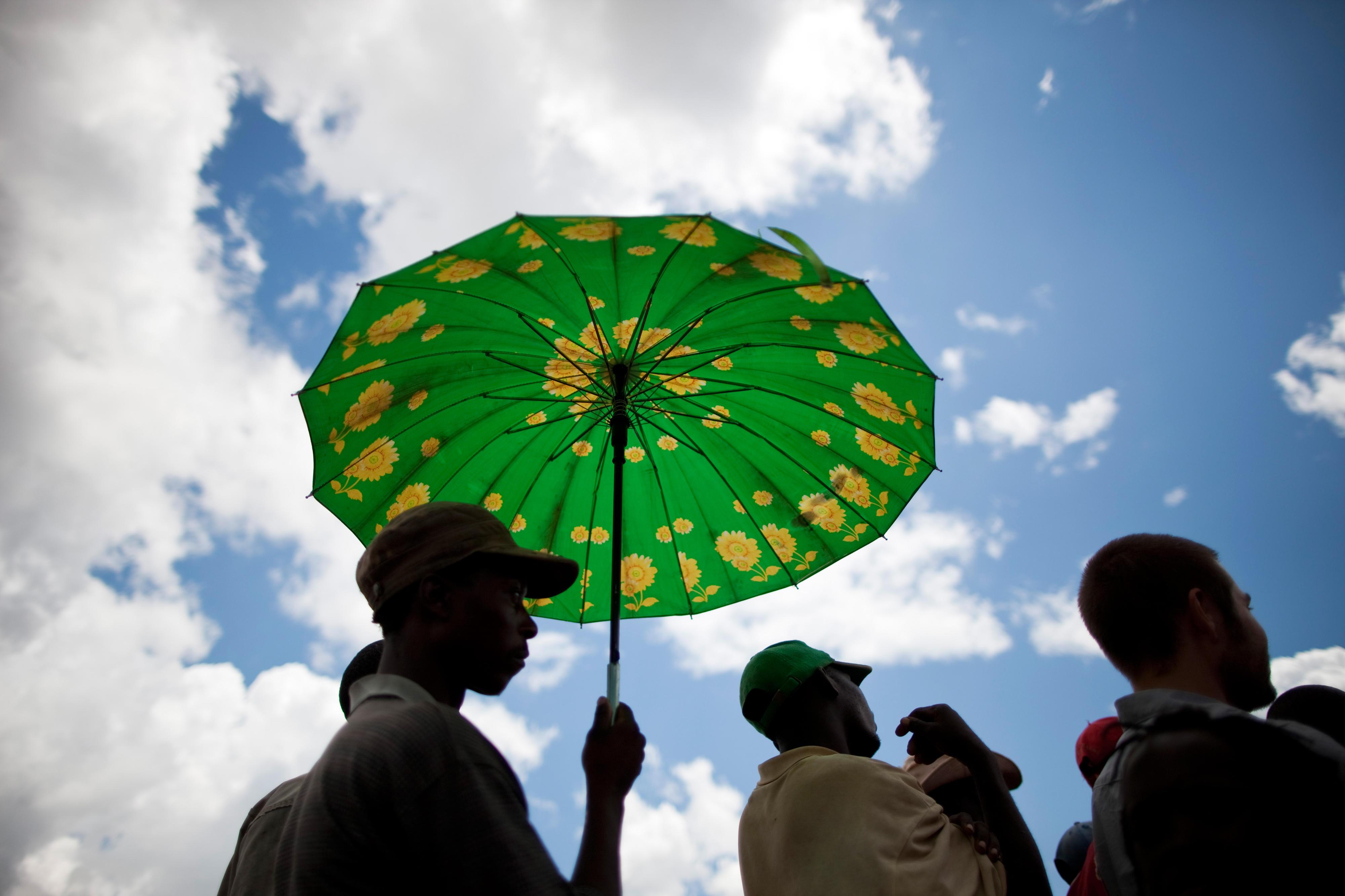 Sambier mit Sonnenschirm in Livingstone