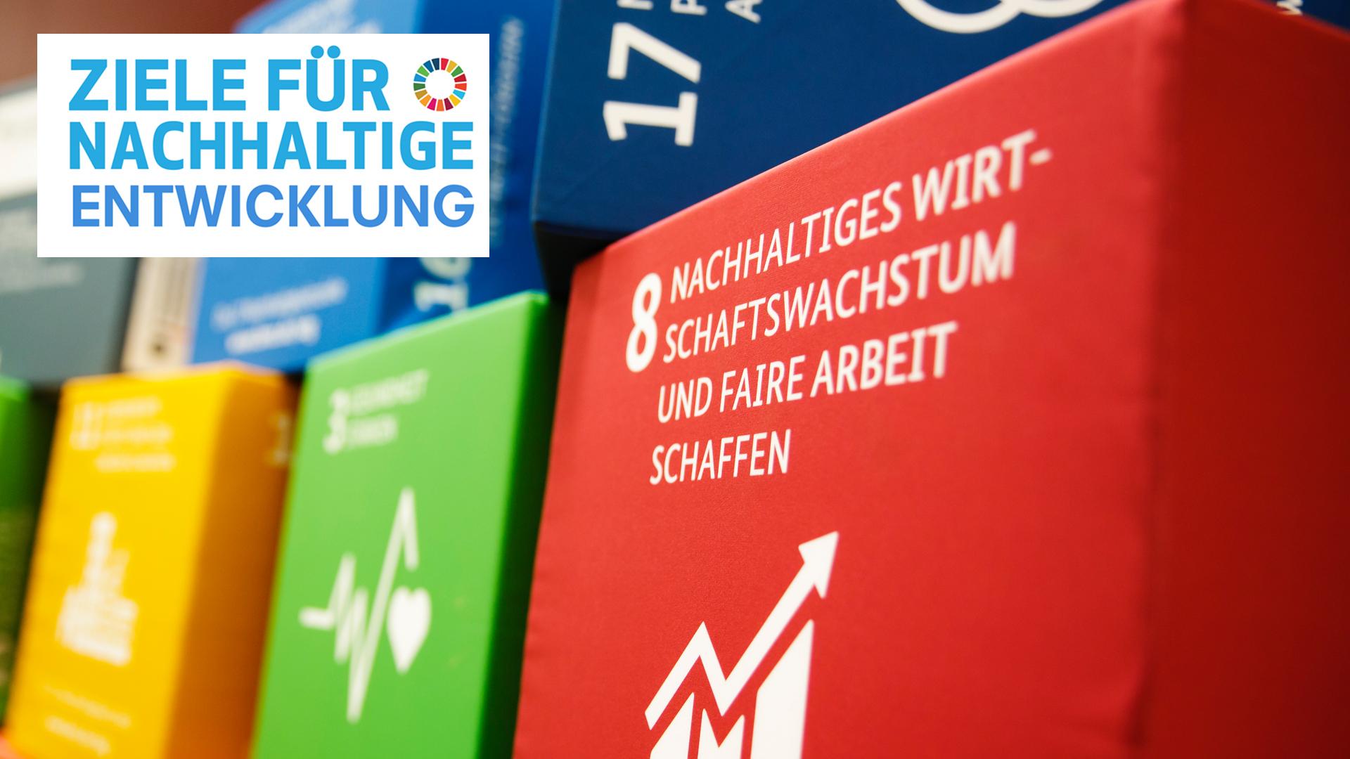 Einige der globalen Entwicklungsziele als Sitzkissen bei einer Konferenz