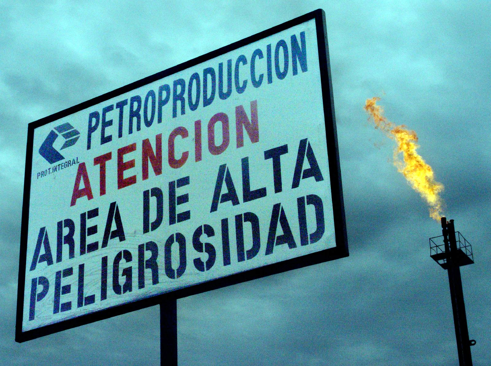 Warning sign in an oil production area in Ecuador