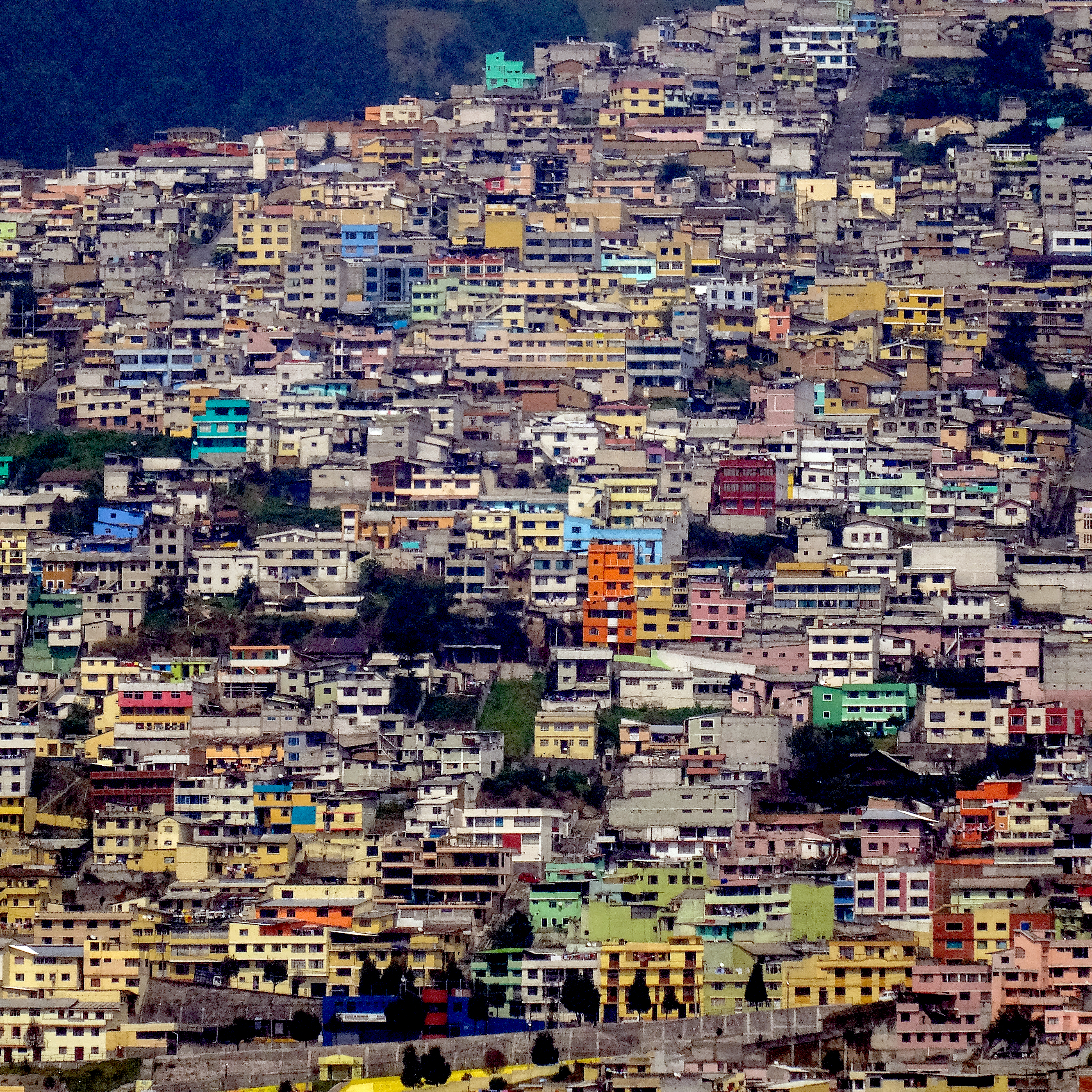 Houses on a hill in Quito, Ecuador