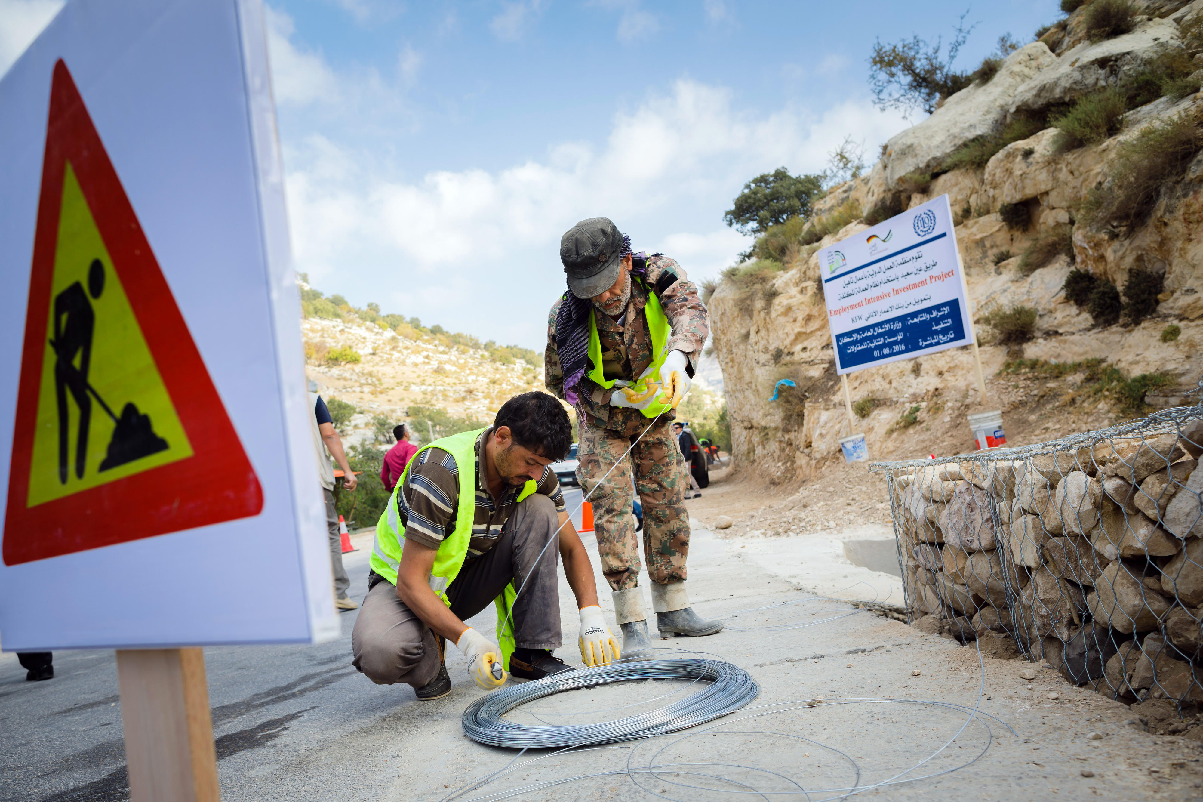 Cash-for-work programme: construction and repair of roads and drainage systems in Jordan