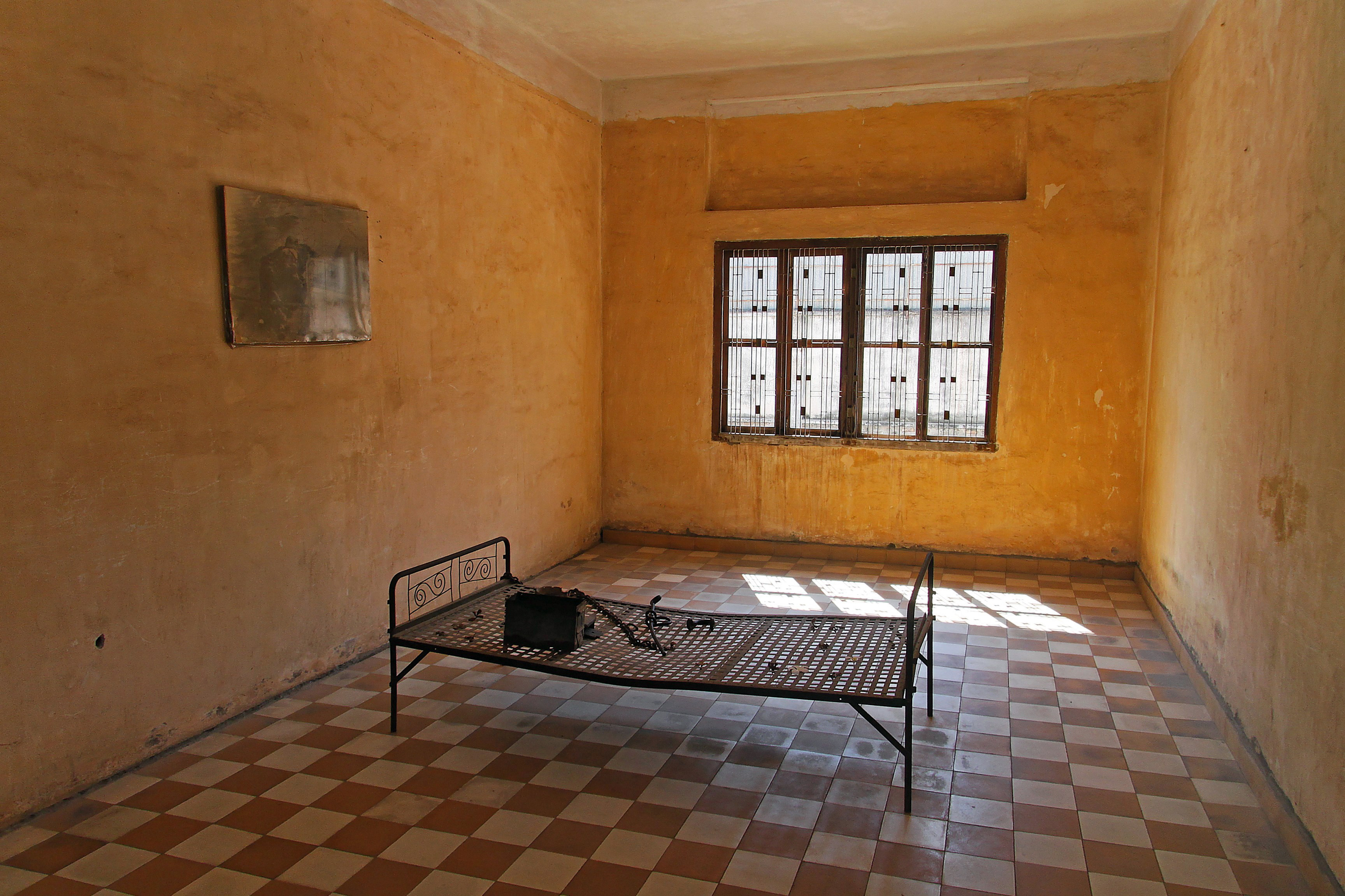 "Torture chamber in Tuol Sleng, a former school in Phnom Penh, which was converted by the Khmer Rouge into a ""re-education camp""."