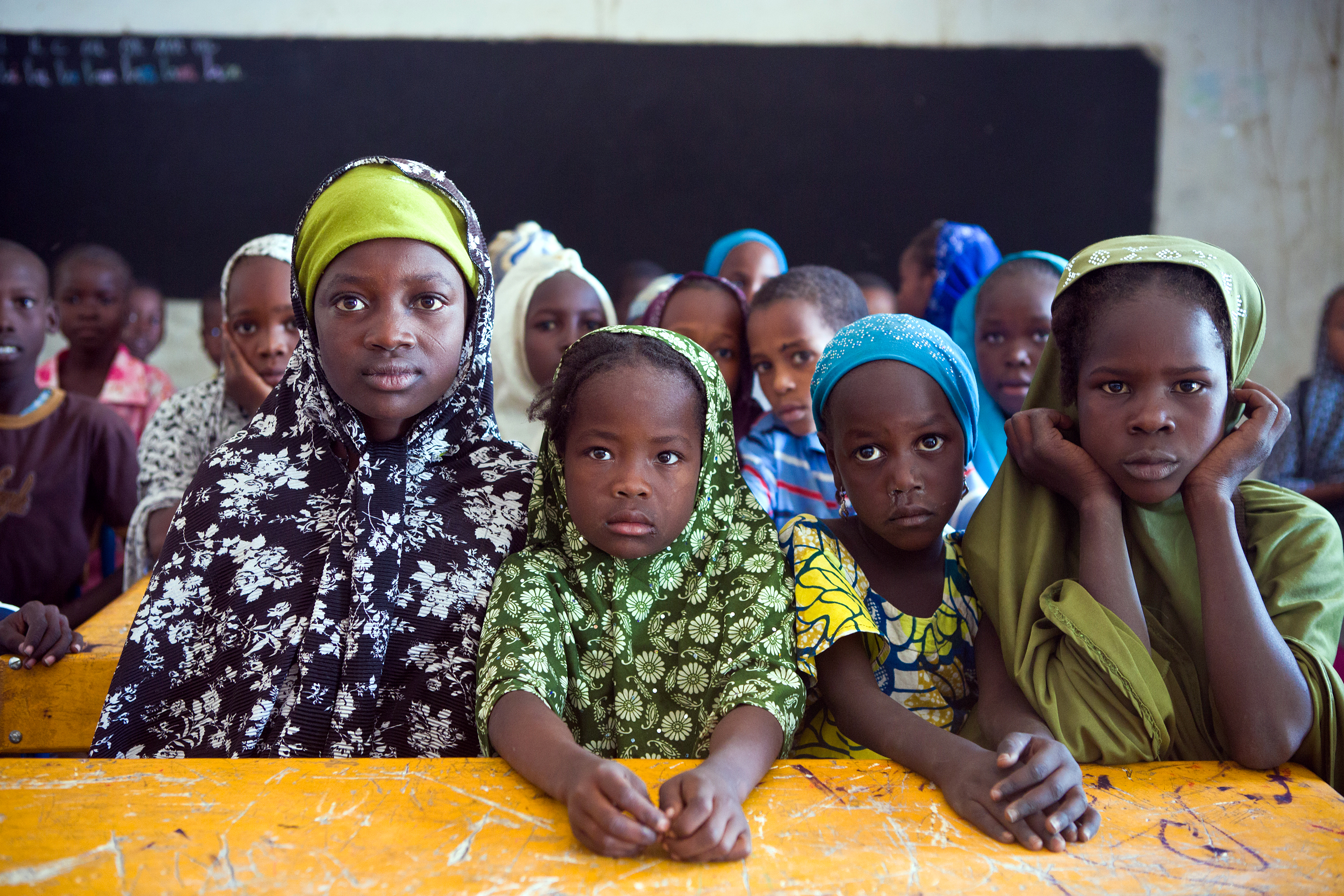 Girls who fled Nigeria to Niger during a math lesson in Bosso, Niger