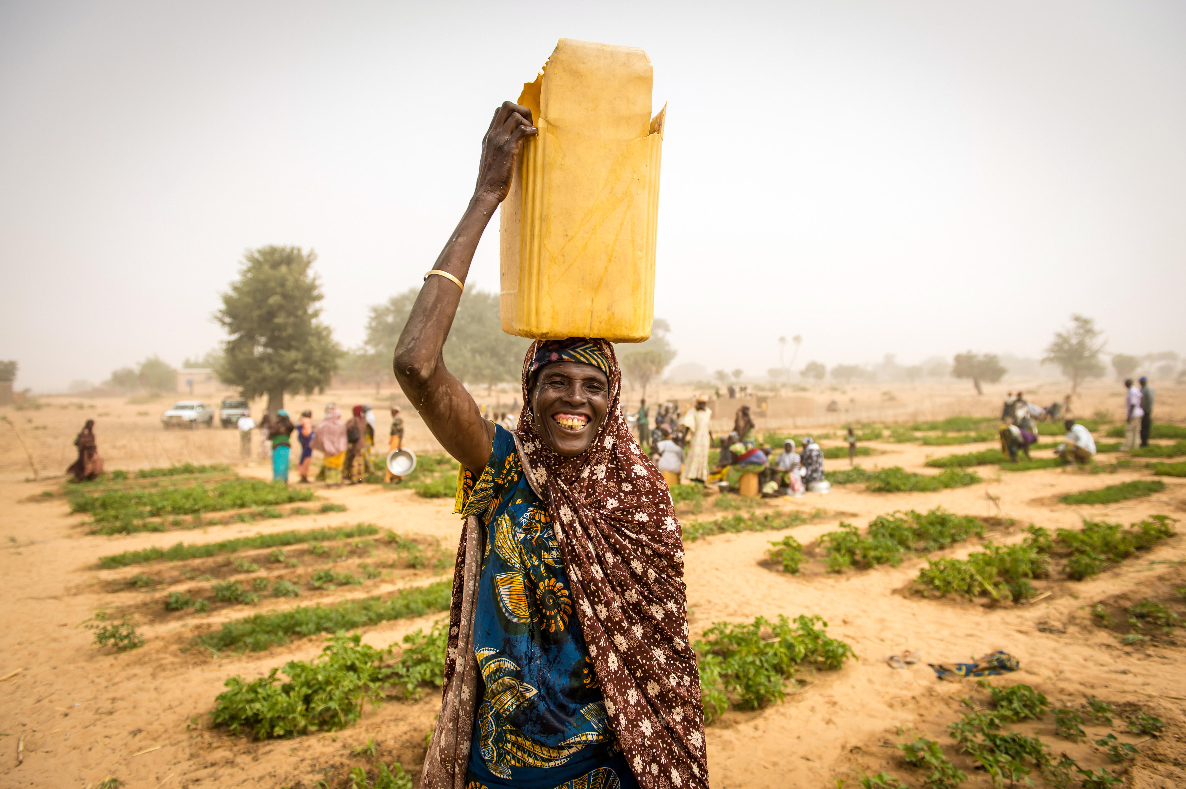 Woman in front of a community garden in Maradi, Niger