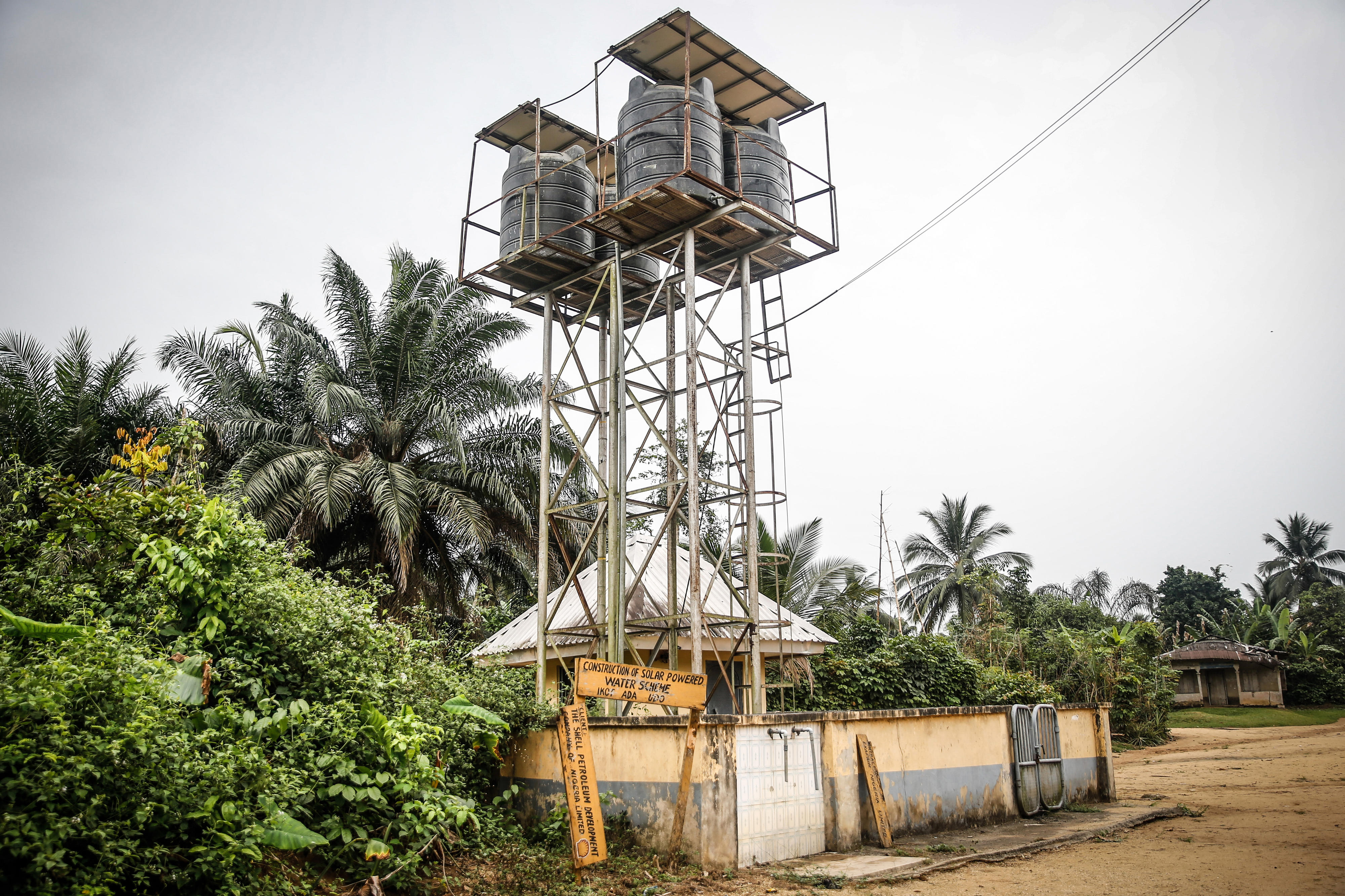 Solar-powered water reservoir in Ikot Ada Udo in the Niger delta