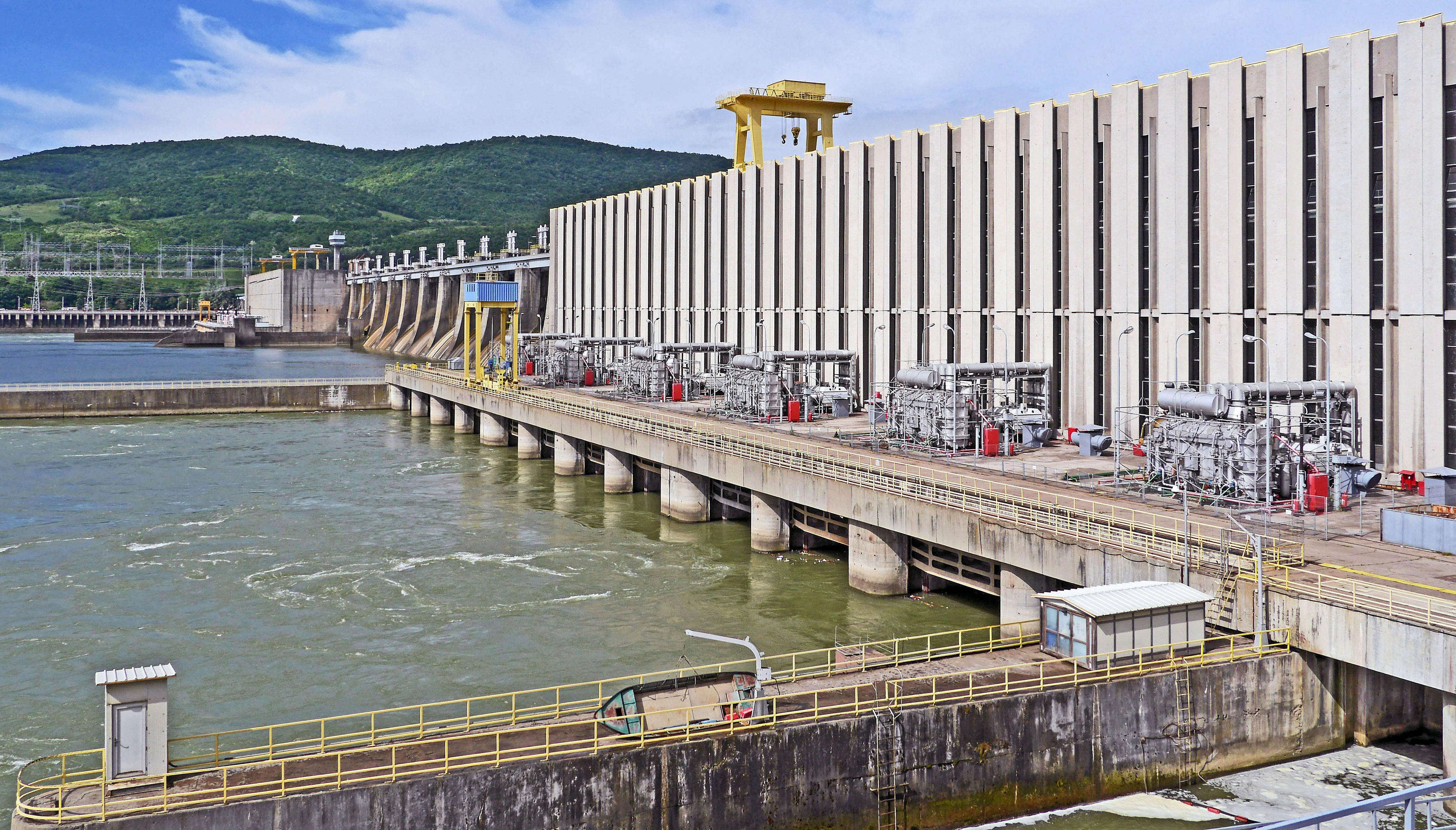 Danube hydropower plant Iron Gate on the border between Serbia and Romania