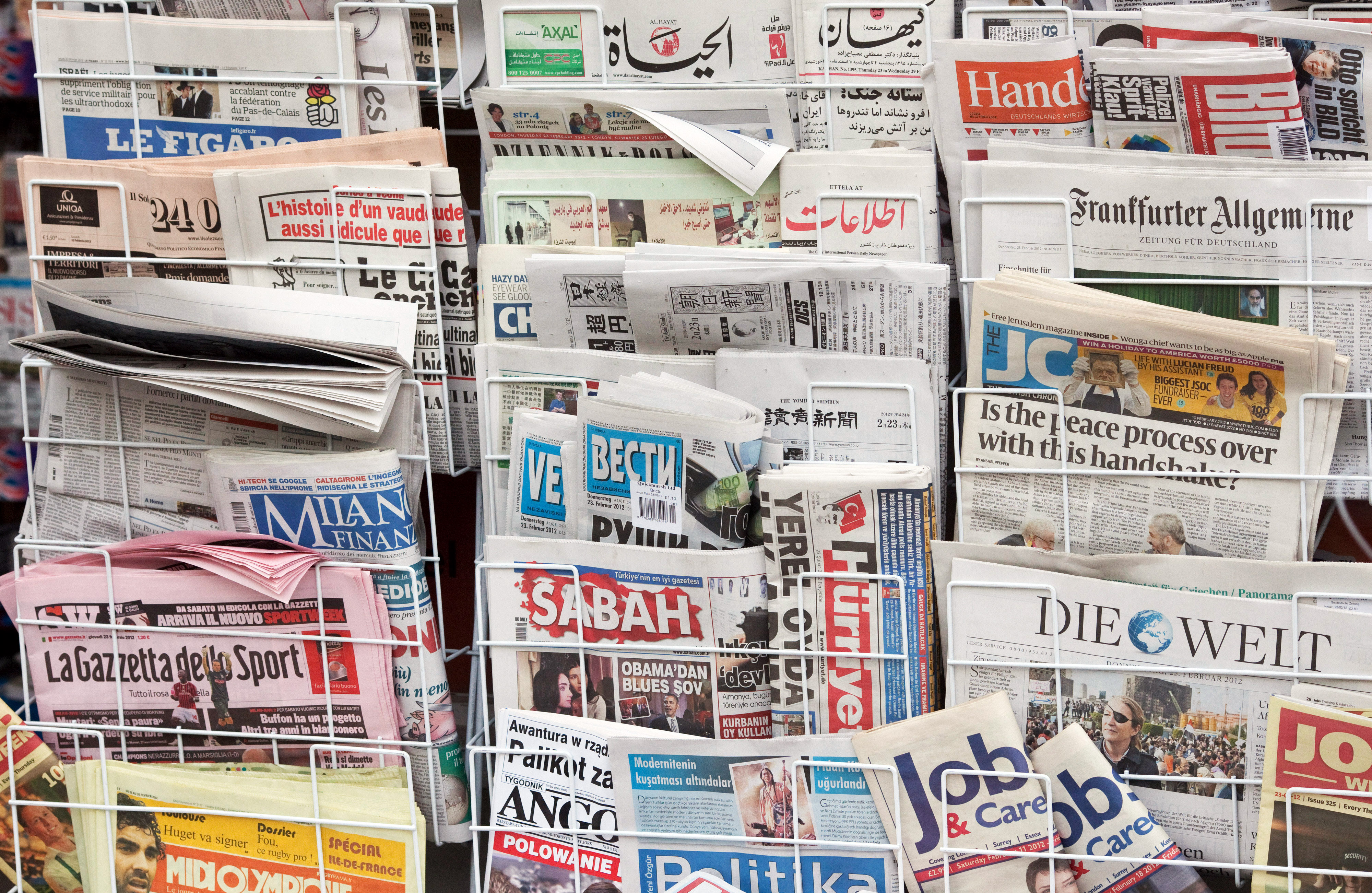 International newspaper range at a newsstand