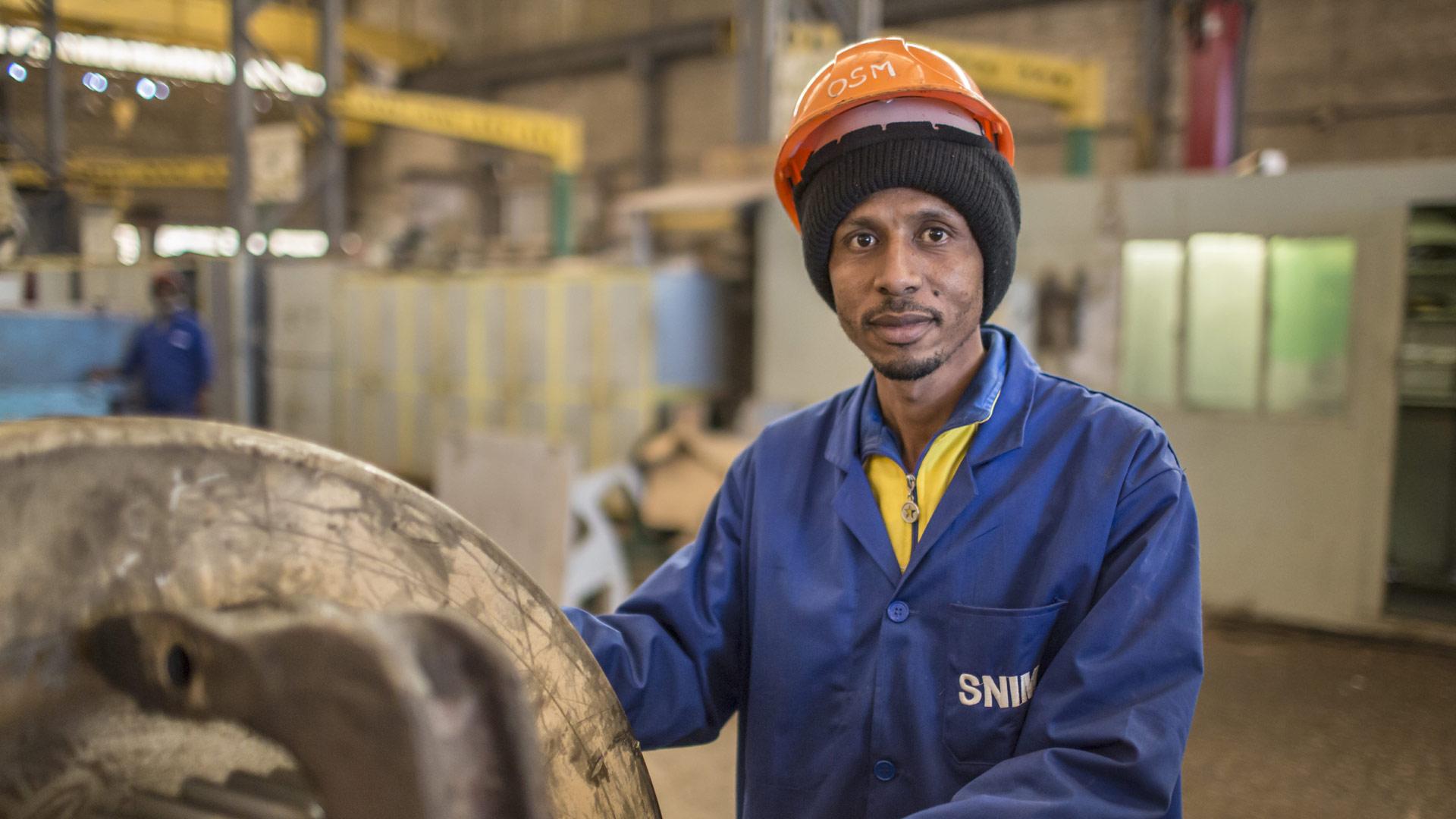 Mitarbeiter eines Eisenerzunternehmens in Mauretanien