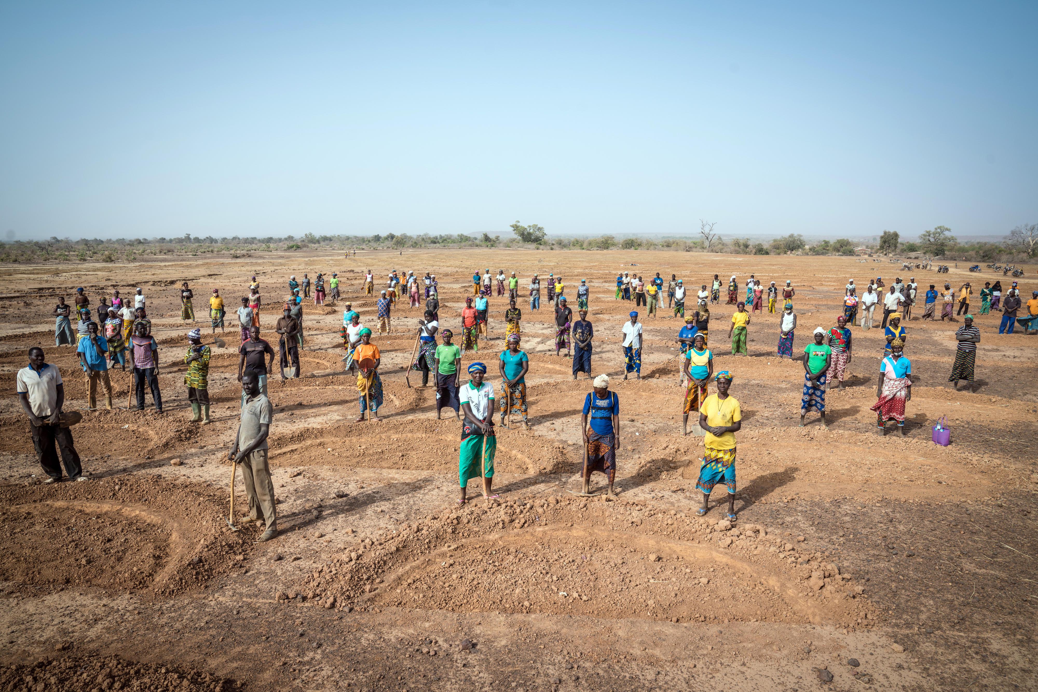 Bäuerinnen und Bauern in Burkina Faso machen degradiertes Land wieder fruchtbarer, zum Beispiel durch das Anlegen von halbrunden Erdwällen, die das Regenwasser besser auffangen und speichern können.