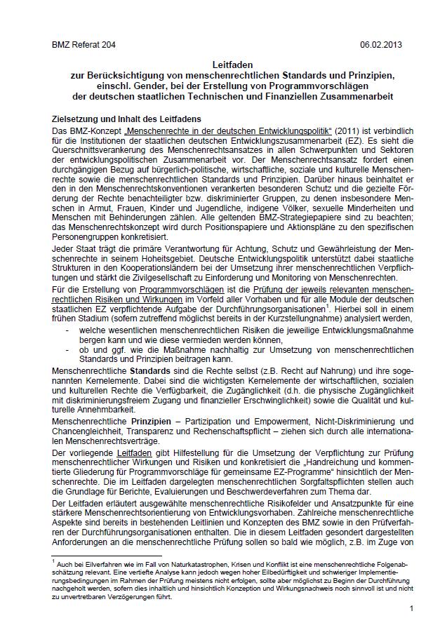 Titelblatt: Leitfadenzur Berücksichtigung von menschenrechtlichen Standards und Prinzipien, einschließlich Gender, bei der Erstellung von Programmvorschlägen der deutschen staatlichen Technischen und Finanziellen Zusammenarbeit