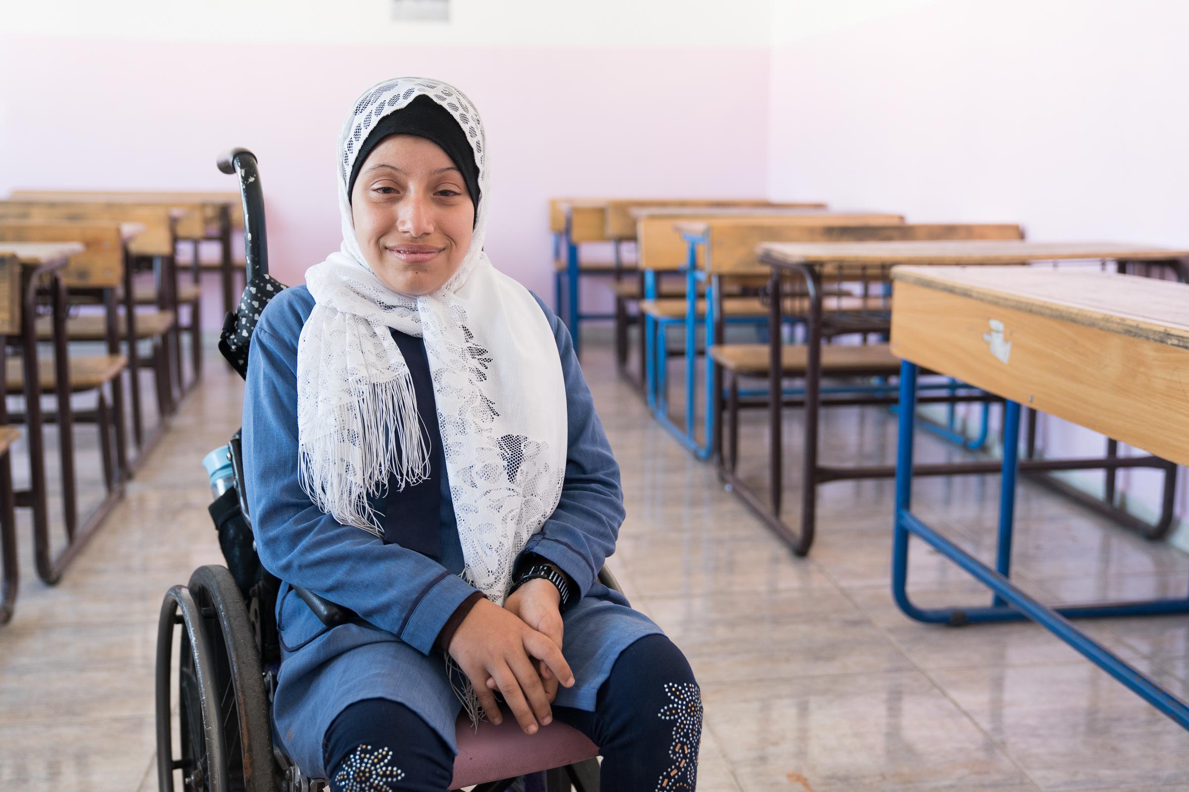 Raneem Eyad Al-Hajali in Jordanien in ihrem Klassenzimmer