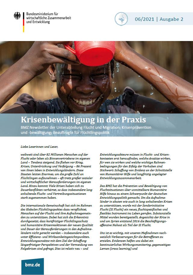 Titelblatt: BMZ-Newsletter der Unterabteilung Flucht und Migration; Krisenprävention und -bewältigung; Beauftragte für Flüchtlingspolitik | Ausgabe 2 | 06/2021