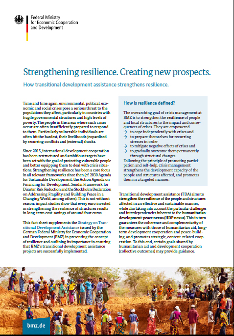 Cover factsheetStrengthening resilience. Creating new prospects.